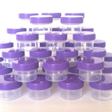 40 Clear Jars w/ Screw-on Opaque Purple Caps (1/2oz) - #3803