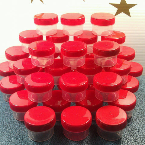 40 Clear Jars w/ Screw-on Red Caps (1/2oz) - #3803