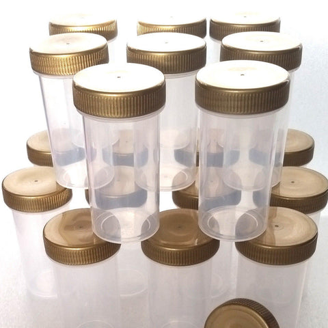 20 Clear Jars w/ Screw-on Gold Ribbed Caps (1 1/2oz) - #3814