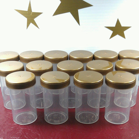 20 Clear Polypropylene Plastic Jars w/ Screw-on Gold Caps (2oz) - #4314
