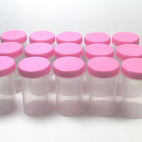 Set of 15 Clear Jars w/ Screw-on Pink Caps (2oz) - #4314