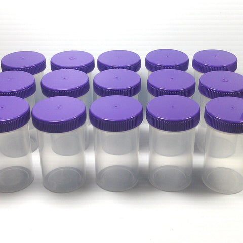 20 Clear Polypropylene Jars w/ Screw-on Purple Caps Tops Lids (2oz) - #4314
