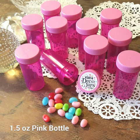 20 Pink Transparent Polypropylene Plastic Jars w/ Screw-on Opaque Pink Caps (1 1/2oz) - #3814