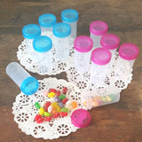 20 Clear Plastic Jars w/ Screw-on Transparent Aqua Blue & Pink Caps (1 1/2oz) - #3814 - USA
