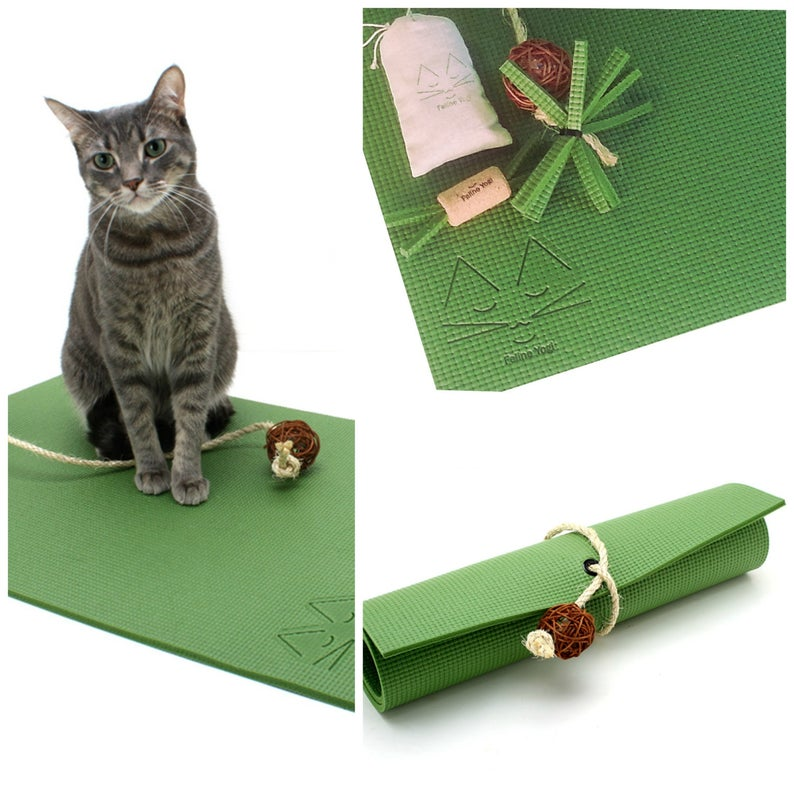 Feline Yogi Yoga Cat Mat Gift Set-Olive Green