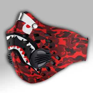 Bape Shark Face Red Camo Carbon PM 2,5 Face Mask