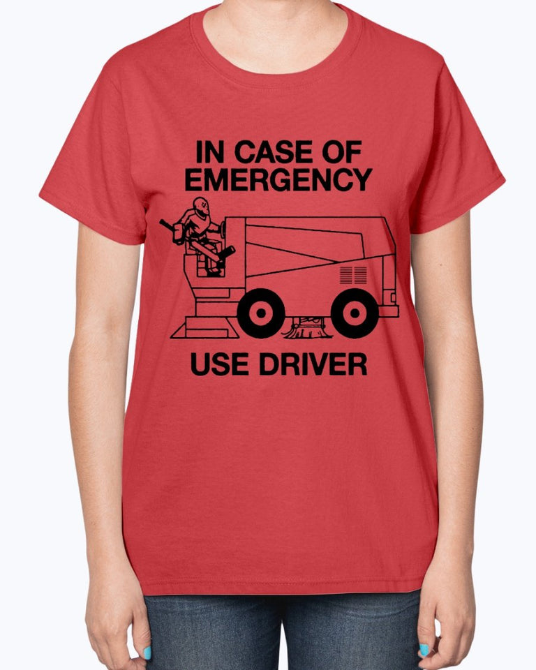 IN CASE OF EMERGENCY - USE DRIVER SHIRT