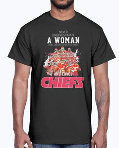 Never Underestimate A Woman Who Understands Football And Loves CHIEFS Shirt