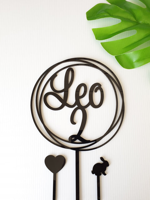 2 and Name cake topper