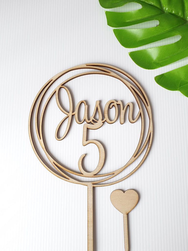 5 and Name cake topper