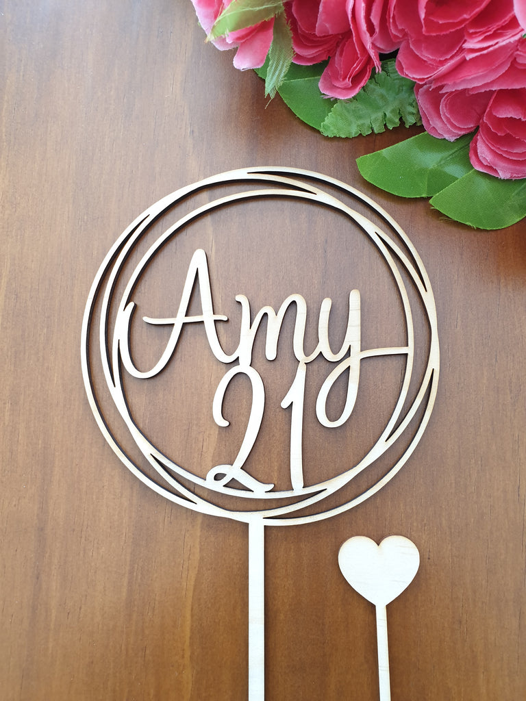 21 and Name cake topper
