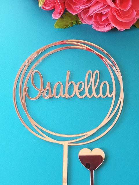 Custom Name circle cake topper