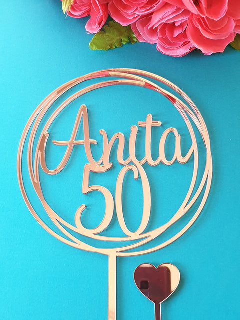 50 and Name cake topper