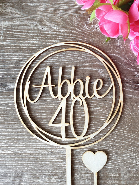 40 and Name cake topper