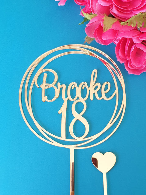 18 and Name cake topper