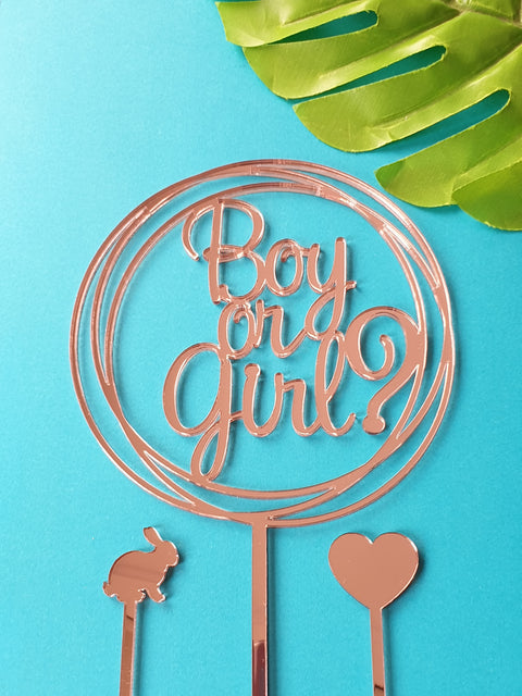 Boy or Girl? circle cake topper