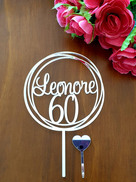 60 and Name cake topper