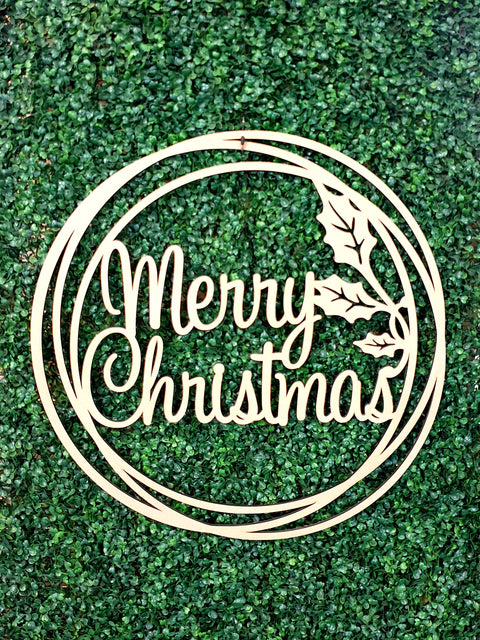 Merry Christmas Wall Hoop Sign