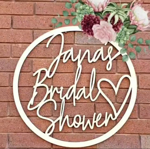 Bridal Shower Wall Hoop Sign