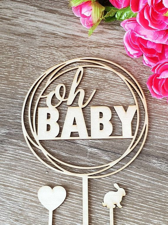 Oh baby circle cake topper