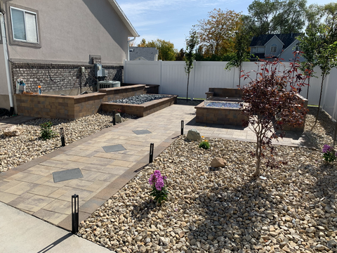 Paver Walkway with Firepit