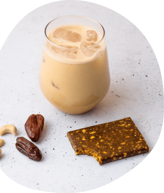 A superfood latte with a Your Super bar