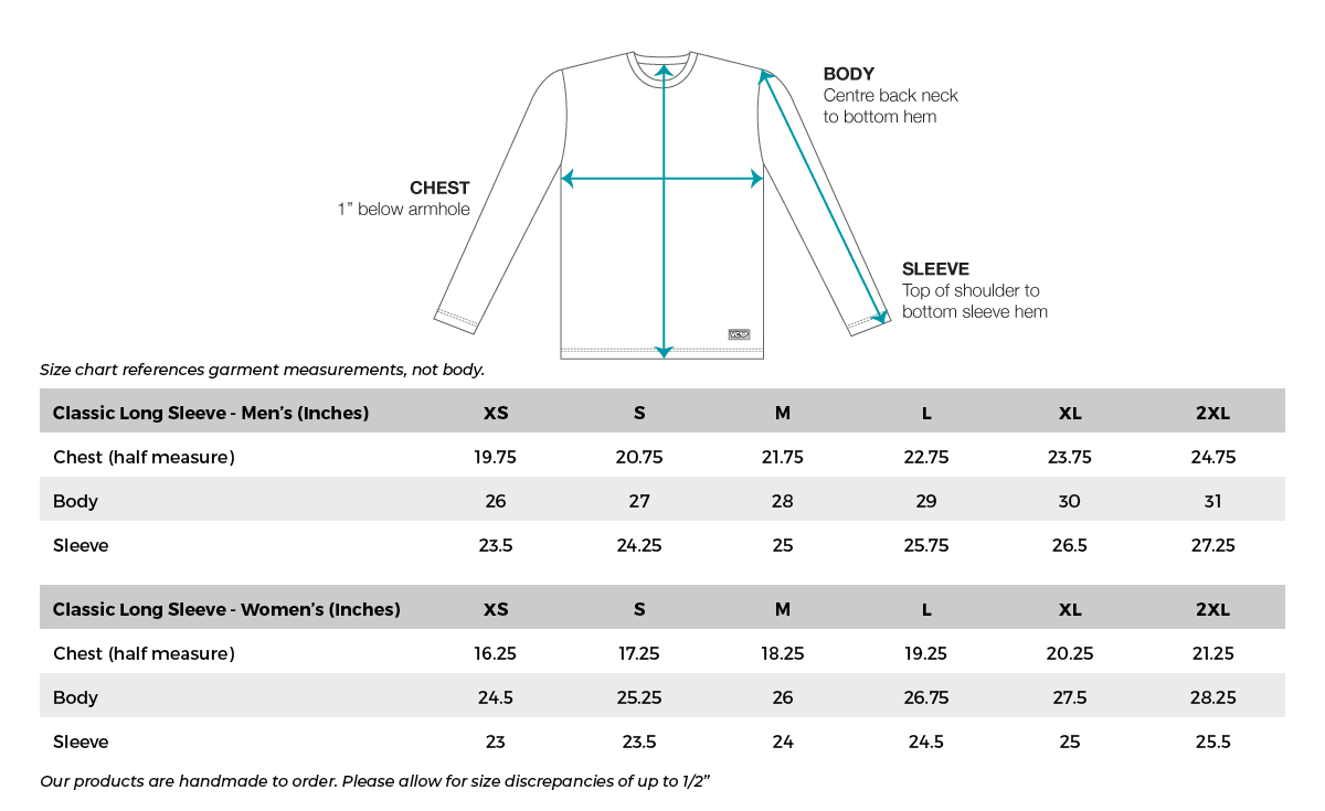 VC Ultimate Classic Long Sleeve Size Chart