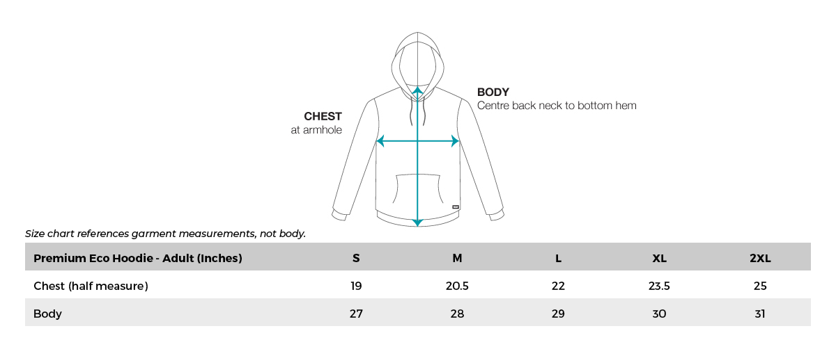 VC Ultimate Eco Hoodie Size Chart