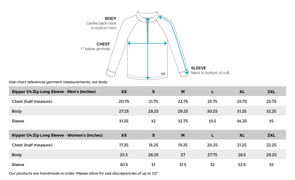 VC Ultimate Ripper Long Sleeve Size Chart