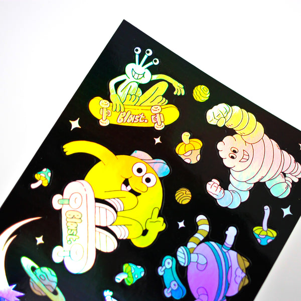 Blast Skates Space Junk Holographic Sticker Sheet.