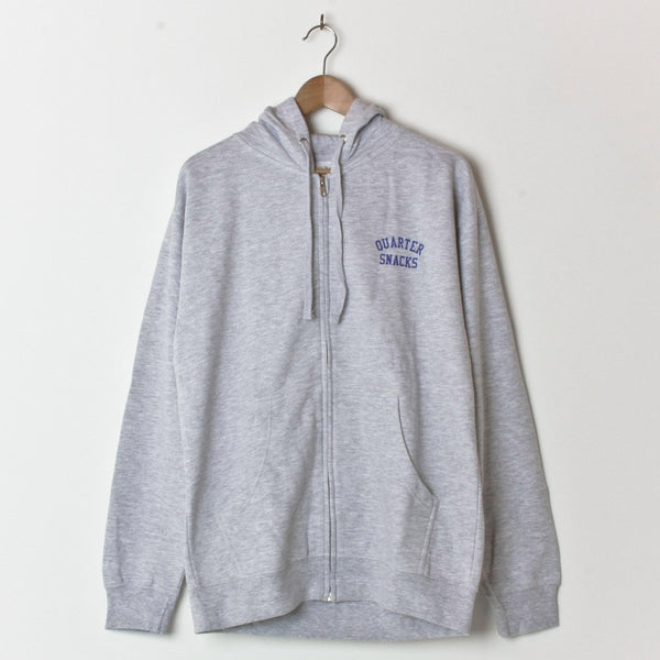 QUARTERSNACKS SNACKMAN ZIPPED HOOD HEATHER GREY (BACK PRINT)