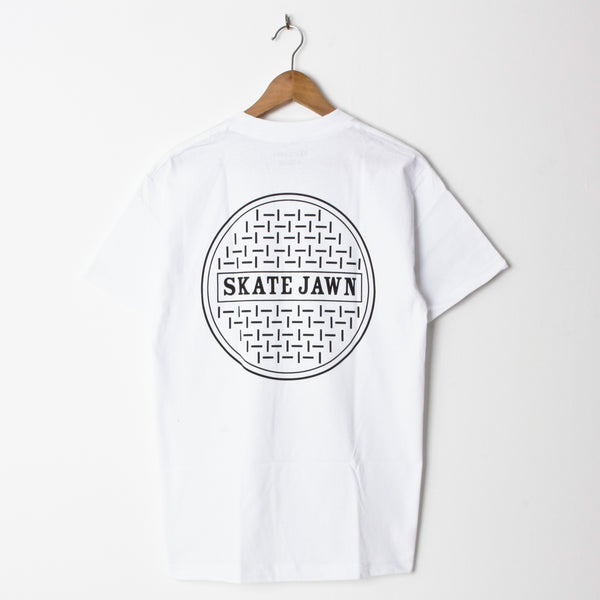 Skate Jawn Sewer Cap White (Back Print)