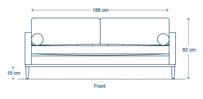 Three-Seater Sofa Dimensions Front