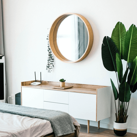 mirror above drawers