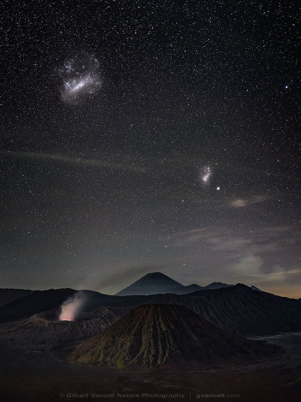 Magellanic Clouds over Bromo
