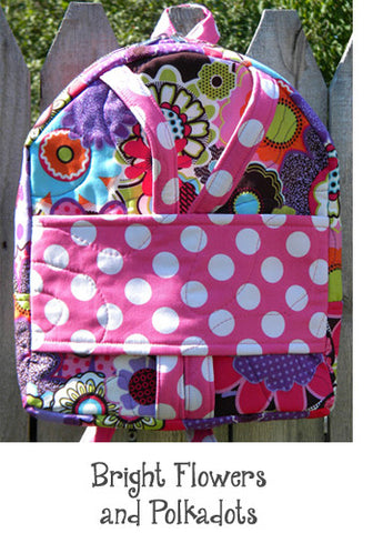 Bright Flowers and Dots Backpack Doll Carrier