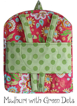Madhuri and Green Dots Backpack Doll Carrier