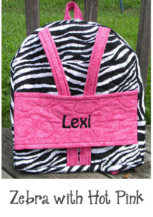 Zebra with Hot Pink Backpack Doll Carrier