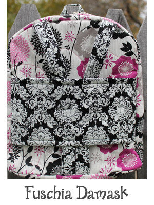 Fuschia Damask Backpack Doll Carrier