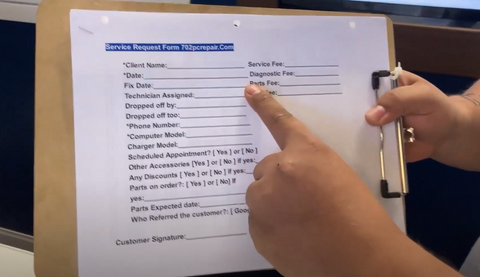 picture of form clients fill out for computer repair