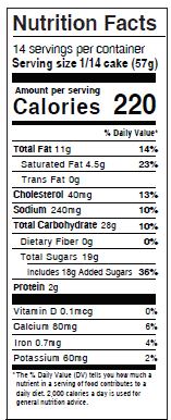 Pineapple Coconut Coffee Cake Nutrition Facts
