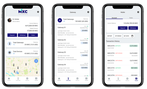 MXC DataDash App's Home, Gateway, and Wallet view