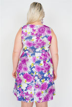 Load image into Gallery viewer, Plus Size Purple Navy Watercolor Floral Print Casual Midi Dress