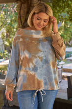 Load image into Gallery viewer, Plus Size Multicolor Tie-dye Bateau Neck Long Sleeve Draw-string Trim Sweatshirt