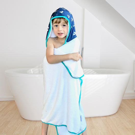 Kids Blue Triangle Hooded Towel and Reusable Bag Set