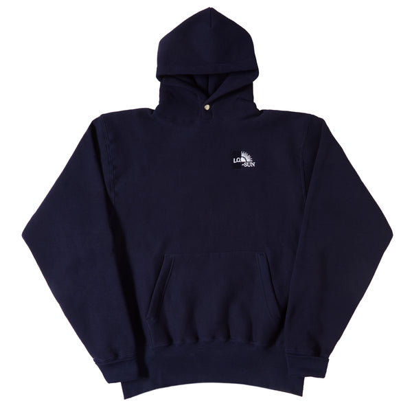 NAVY SPLIT LOGO SNAP HOODY
