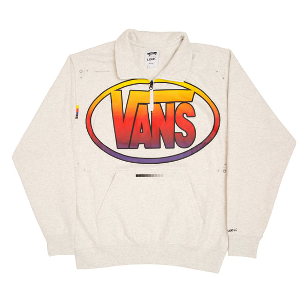 ASH GREY QUARTER ZIP SWEATSHIRT - VANS X LQQK