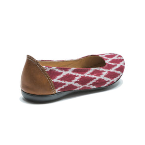 Gaby Ballet Flats Apple Red Ikat - Green Orchyd
