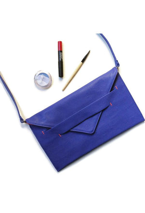 royal blue vegan clutch