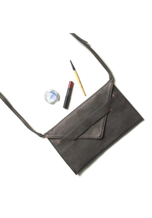 espresso colored vegan clutch